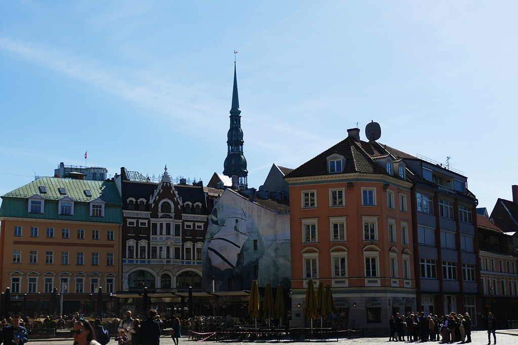 The Doma Laukums, Riga's largest square, surrounded by many stately buildings.