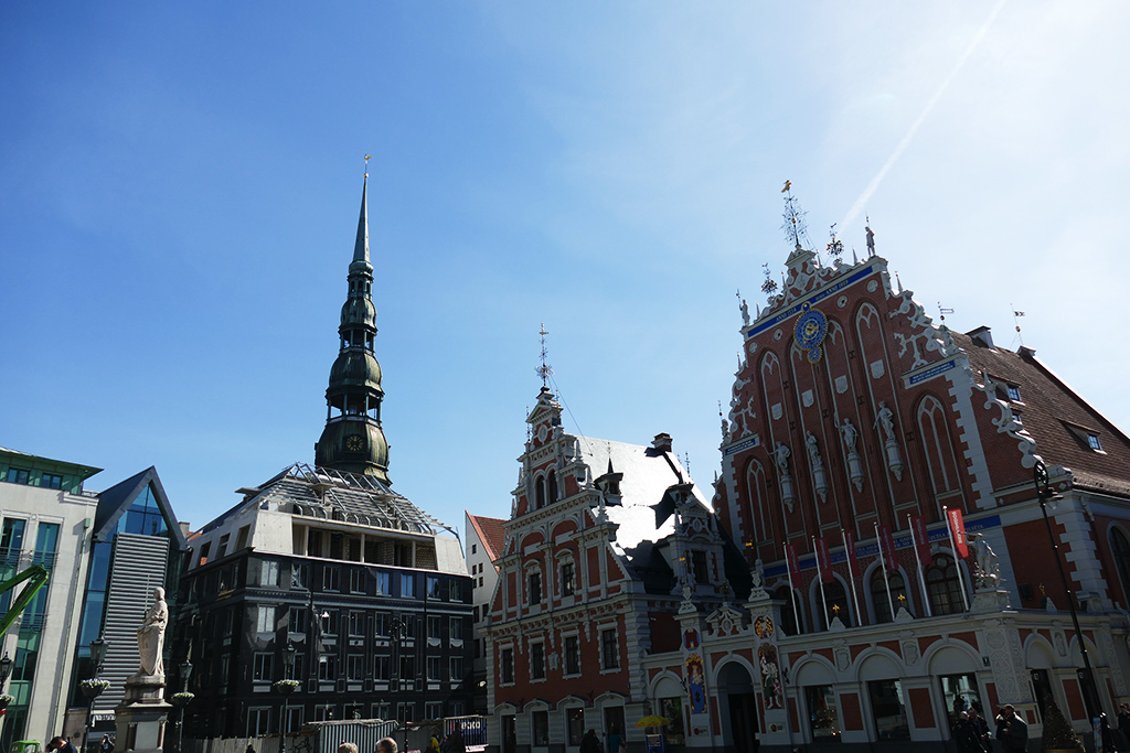 Roland statue, St. Peter's church tower, the Schwab house and the House of the Blackheads in Riga, Latvia