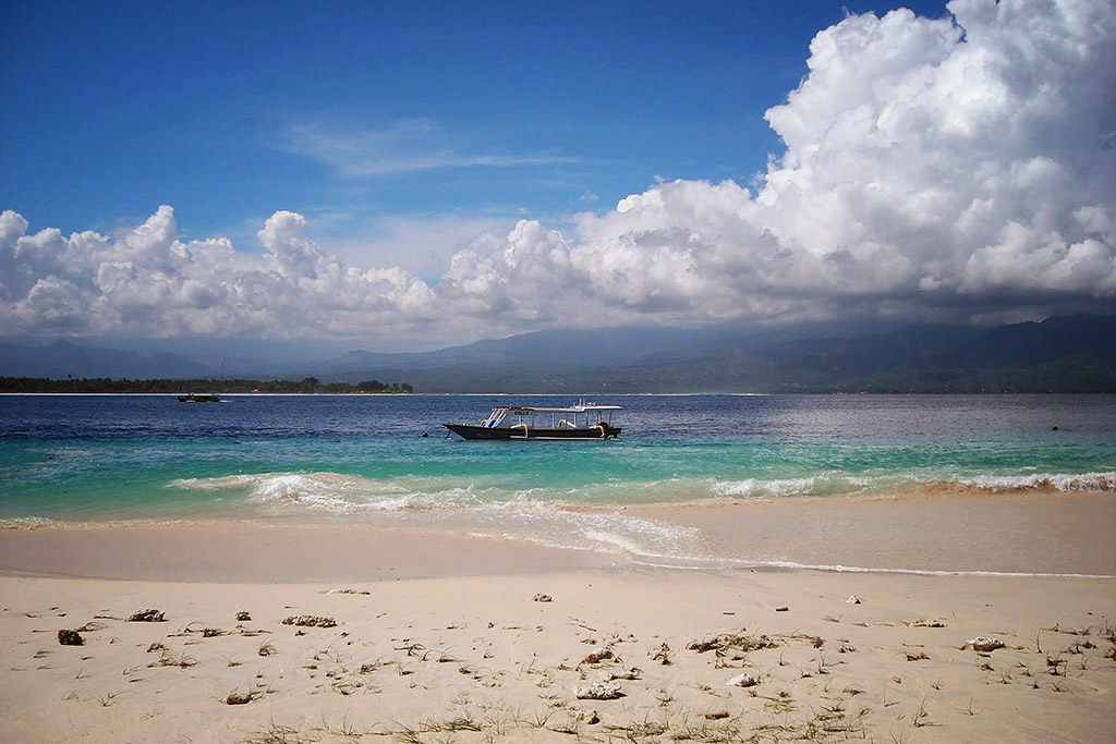 View of Gili Air with Lombok in the backdrop.