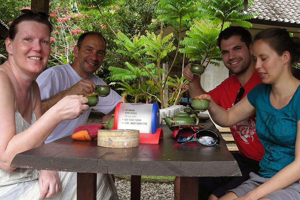 Sampling Luwak Coffee in Bali.