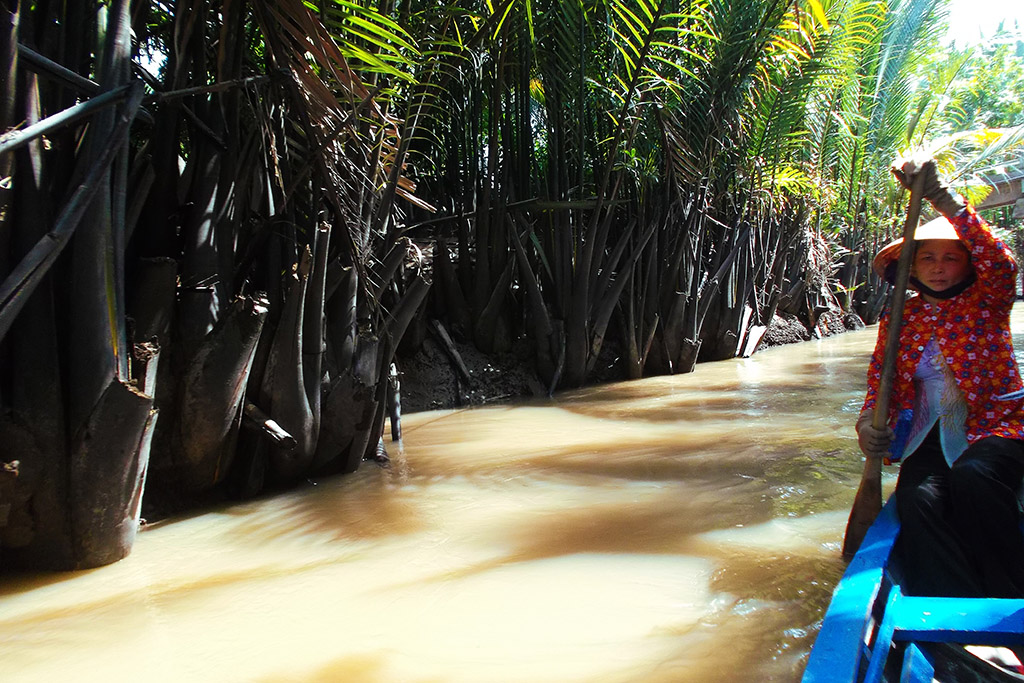 Boat on a creek at the Mekong Delta