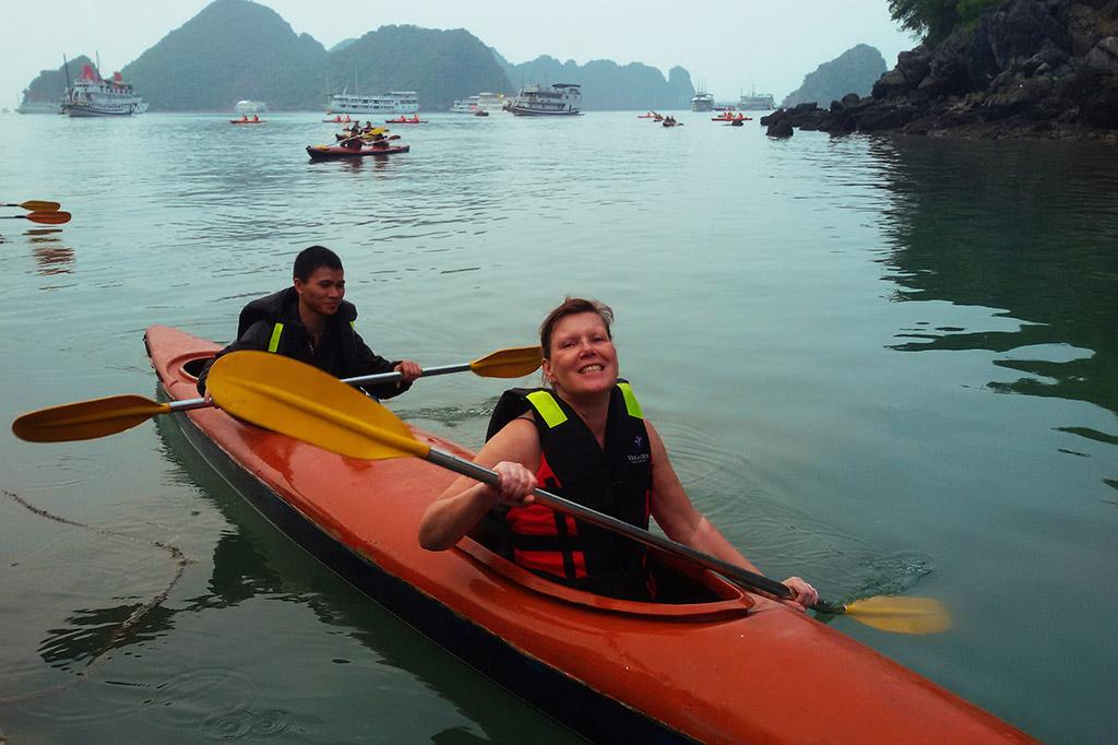 Renata Green kayaking at the Halong Bay