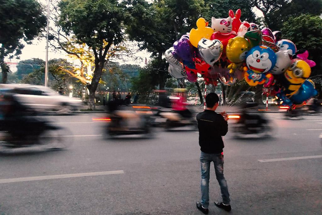 Balloon vendor in Hanoi.