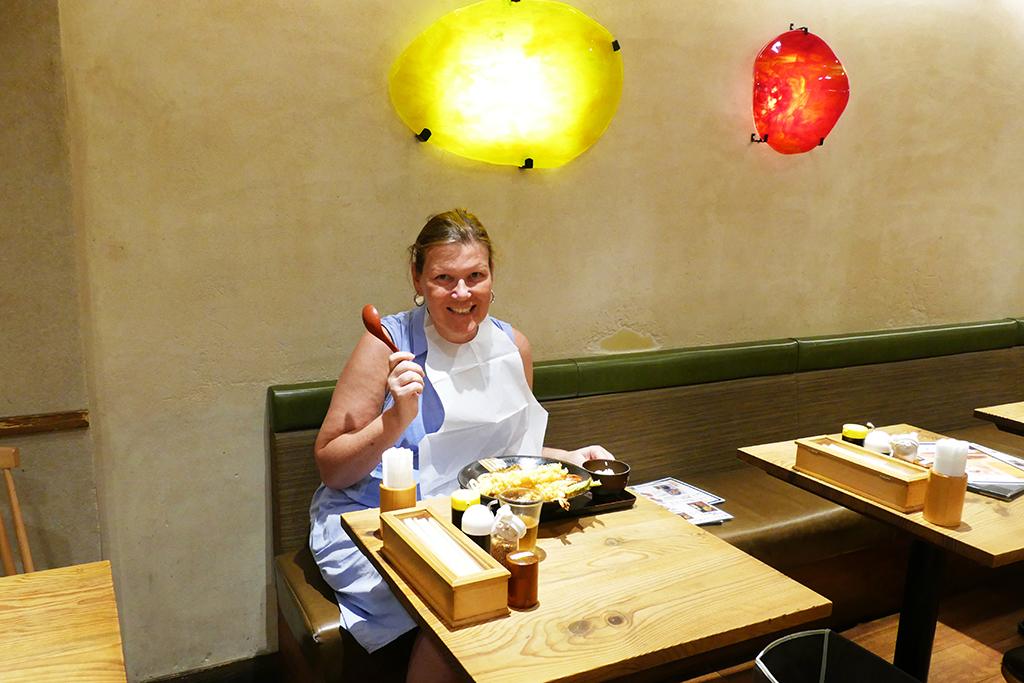 Renata Green eating at a restaurant in Japan