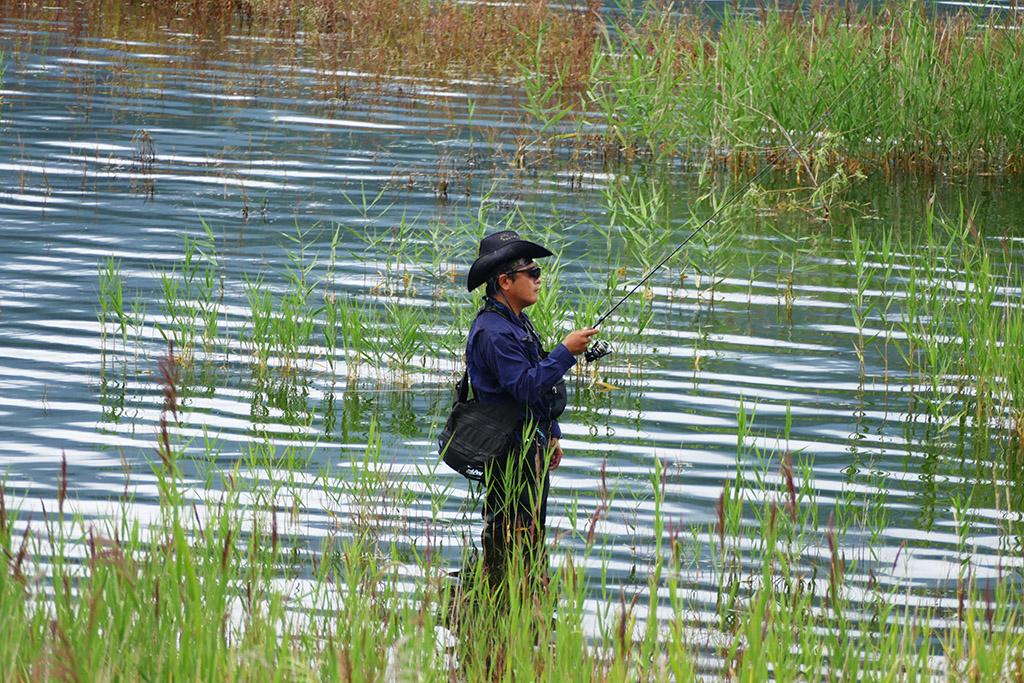Fishing man at Lake Kawaguchiko