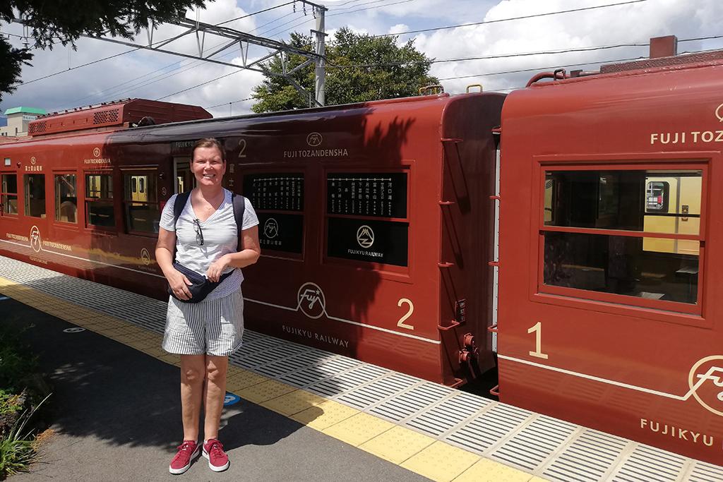 Renata Green on arrival at the train station in Kawaguchiko