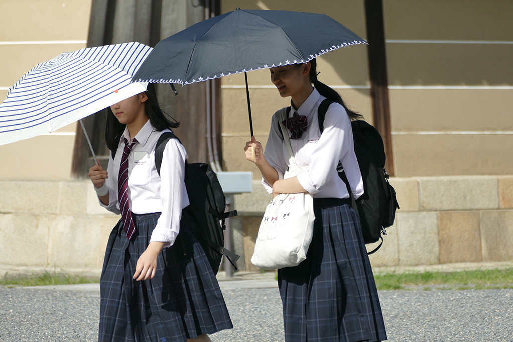 School Girls at Imperial Palace Garden in Kyoto, Japan's Treasure Box for a minimum of 4 days