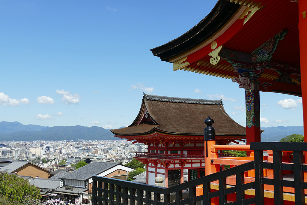 Grand views of Kyoto from Kiyomizudera's terrace.
