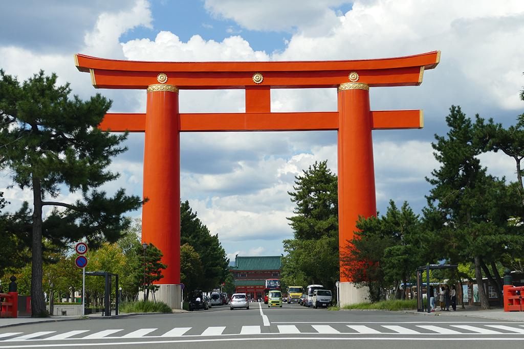 Torii near Heian Shrine in Kyoto Japan