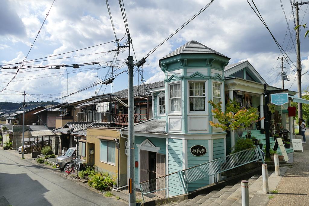Houses along the Tetsugaku no michi - Philosopher's Path at Kyoto in Japan