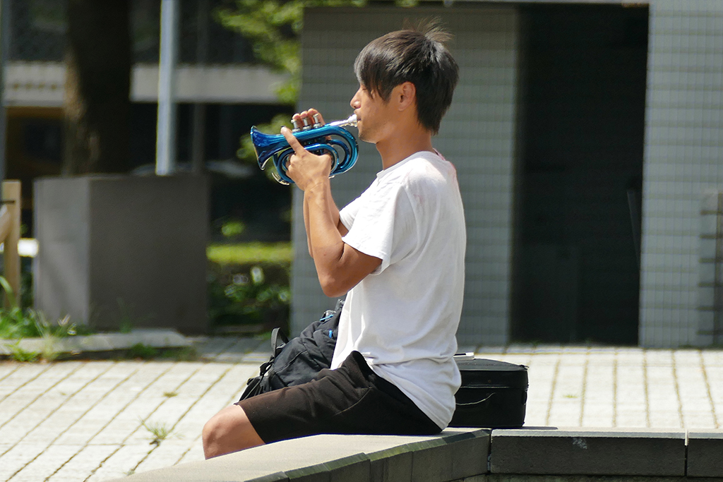 Trumpet Player in front of Nagoya City Science Museum