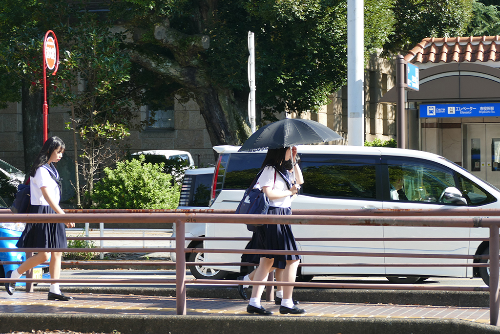 Teenagers on their way to school in Nagoya, an ordinary city in Japan