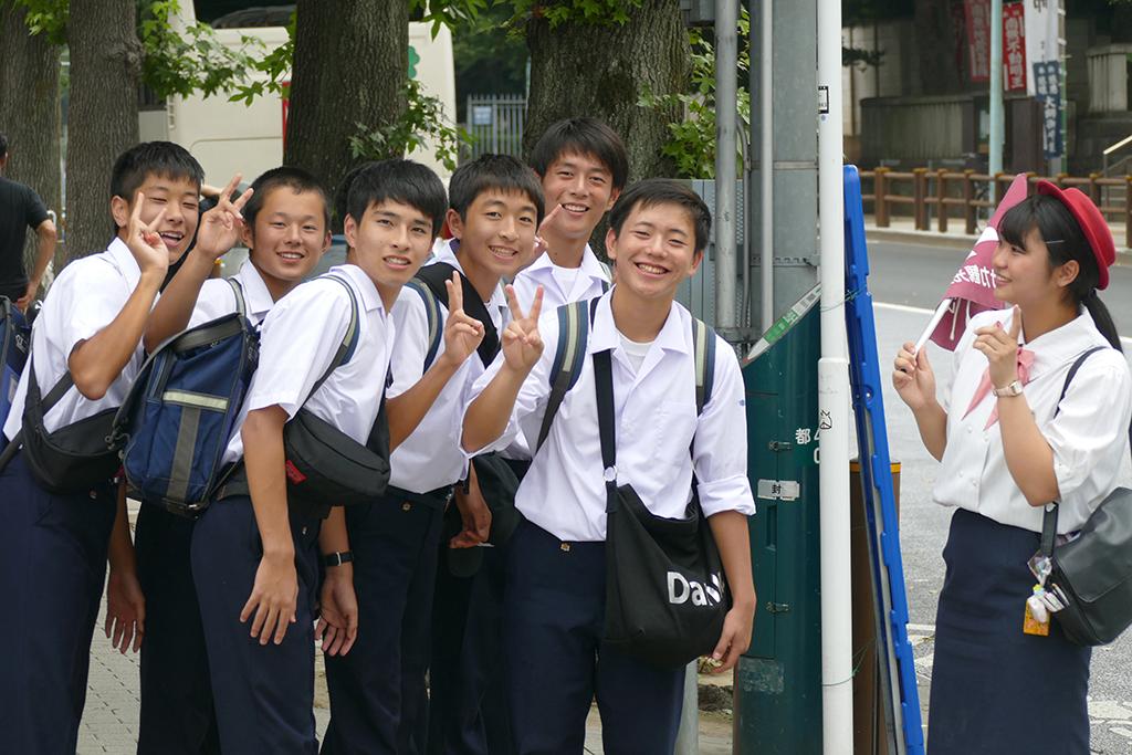 Students at the Ueno neighborhood in Tokyo