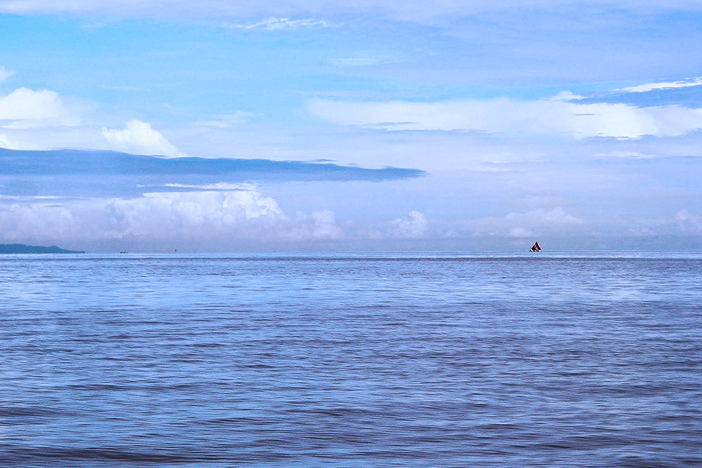 Lombok Strait between Bali and Lombok