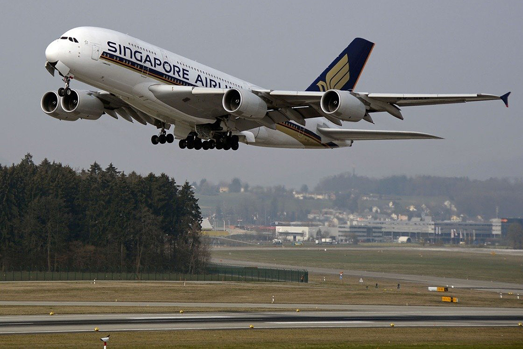 Singapore Airlines plane taking off
