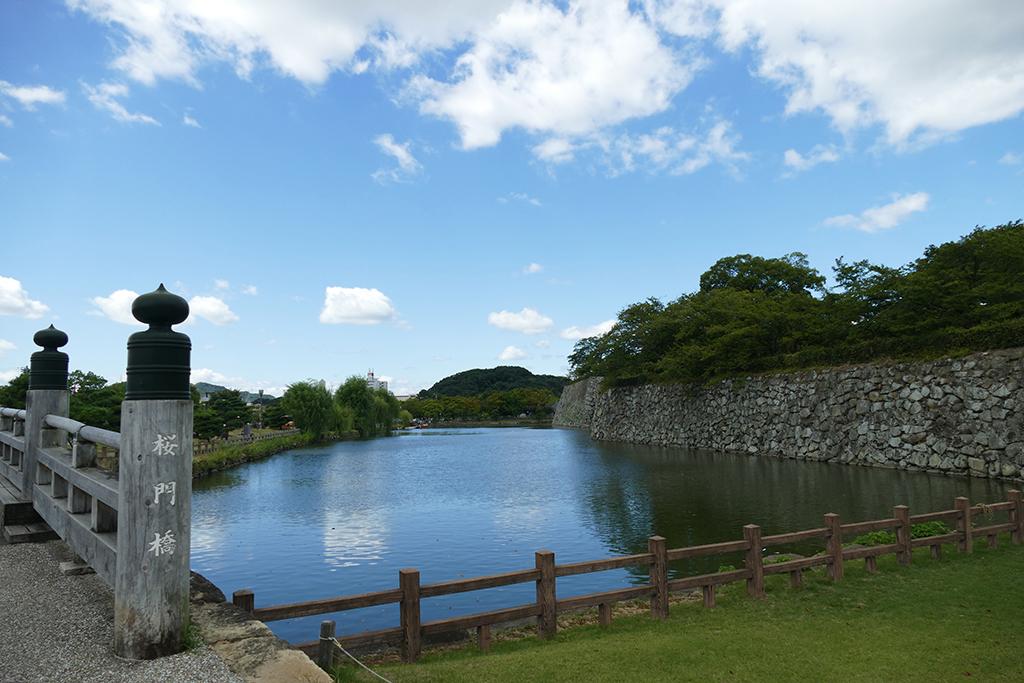 The moat surrounding Himeji castle's premises.