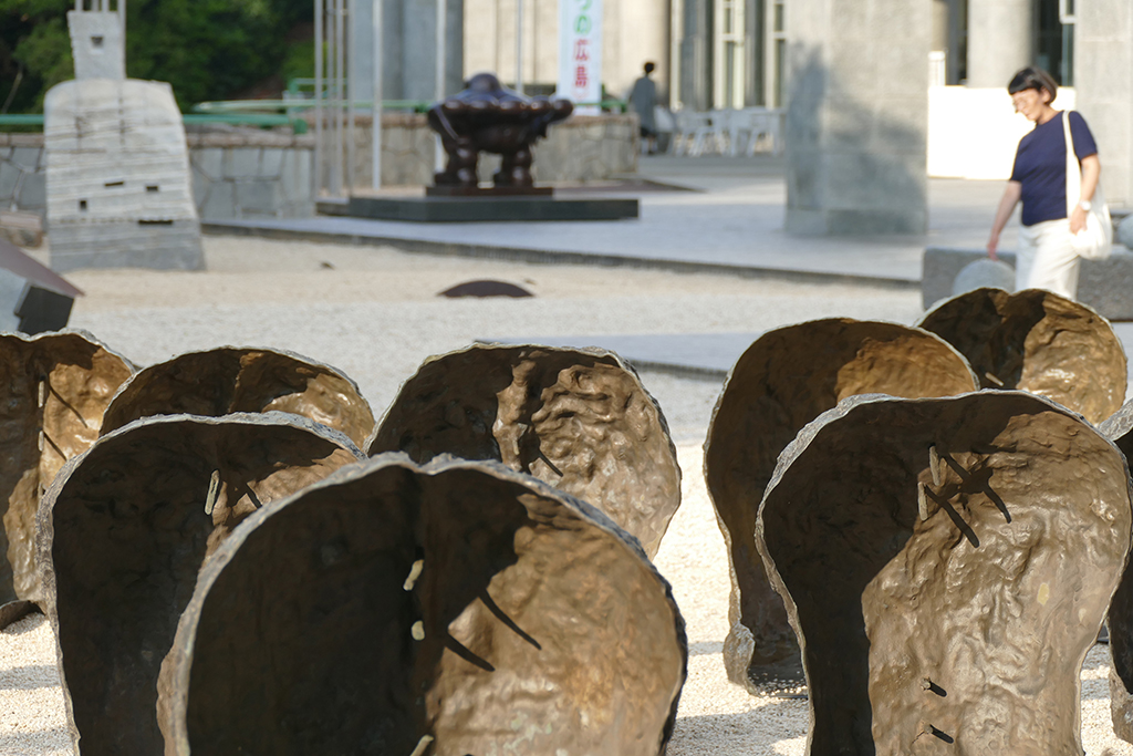 Outdoor installation by Magdalena Abakanowicz Space of Becalmed Beings