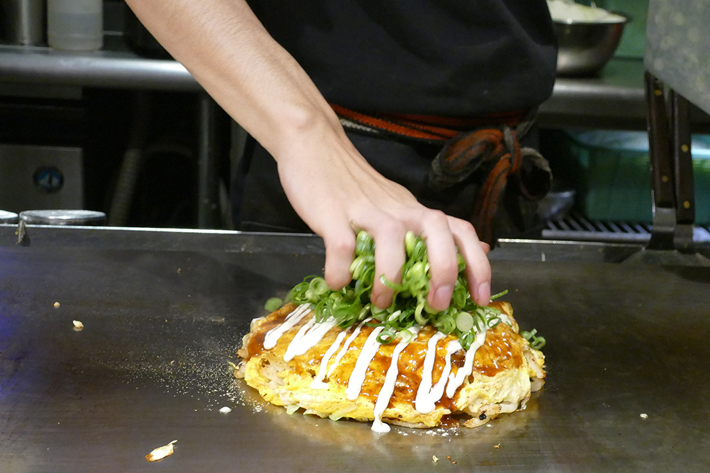 Okonomiyaki in Hiroshima after a trip to Miyajima