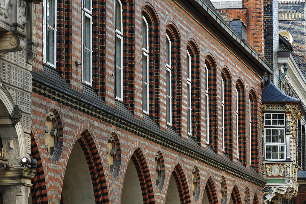 One of the Luebeck's city hall's most intriguing features are the boxed windows.