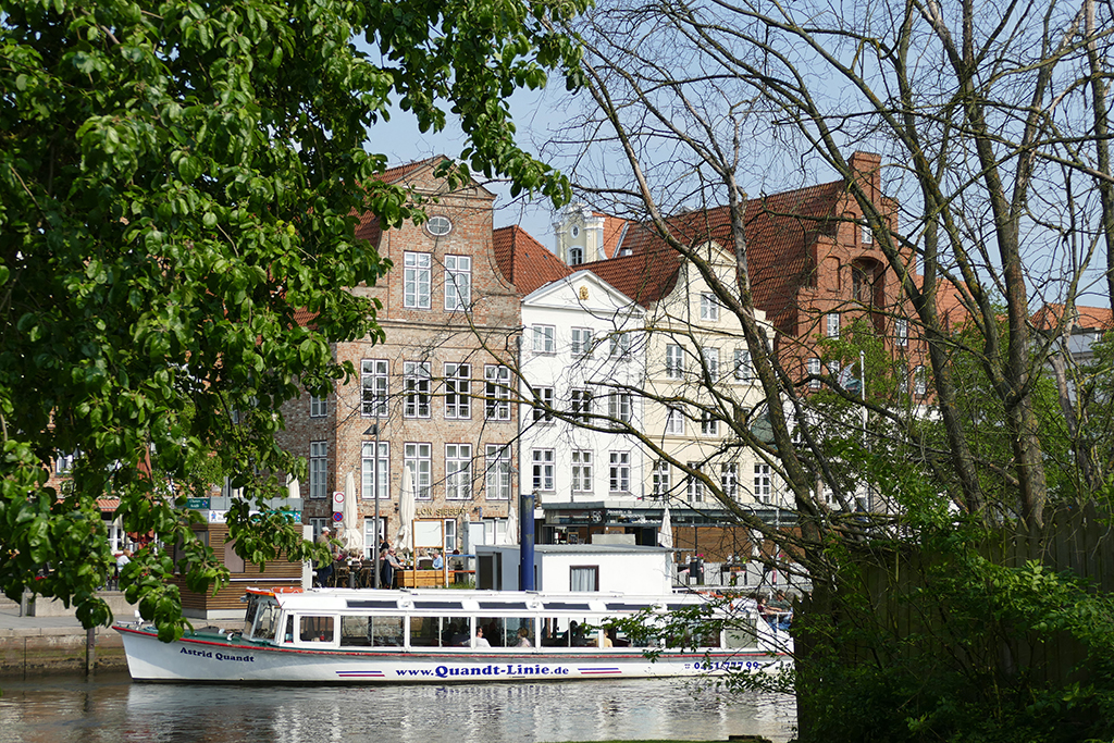 Ship on the river Trave in Lubeck