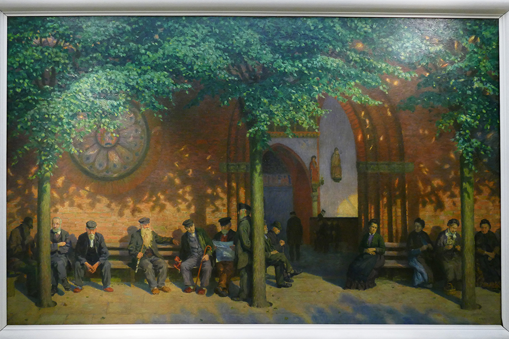 Ernst Eitner's Painting Declining Years. In Front of the Heiligen-Geist-Hospital at the Behnhaus in Lübeck Germany's most ravishing city