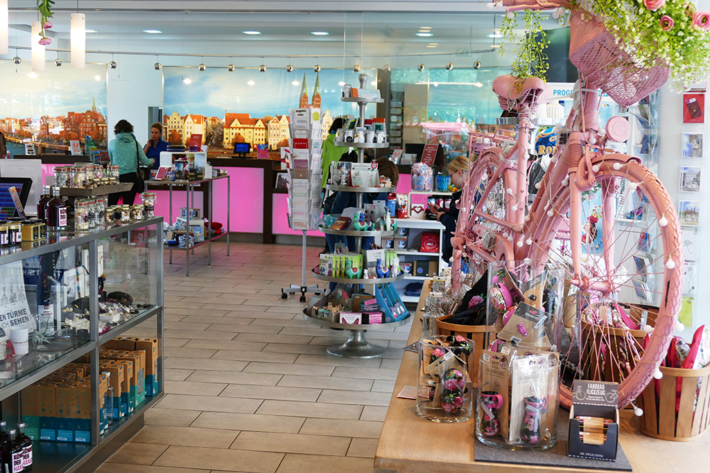 Gift shop at Luebeck tourism where you also meet the guide for your city tour