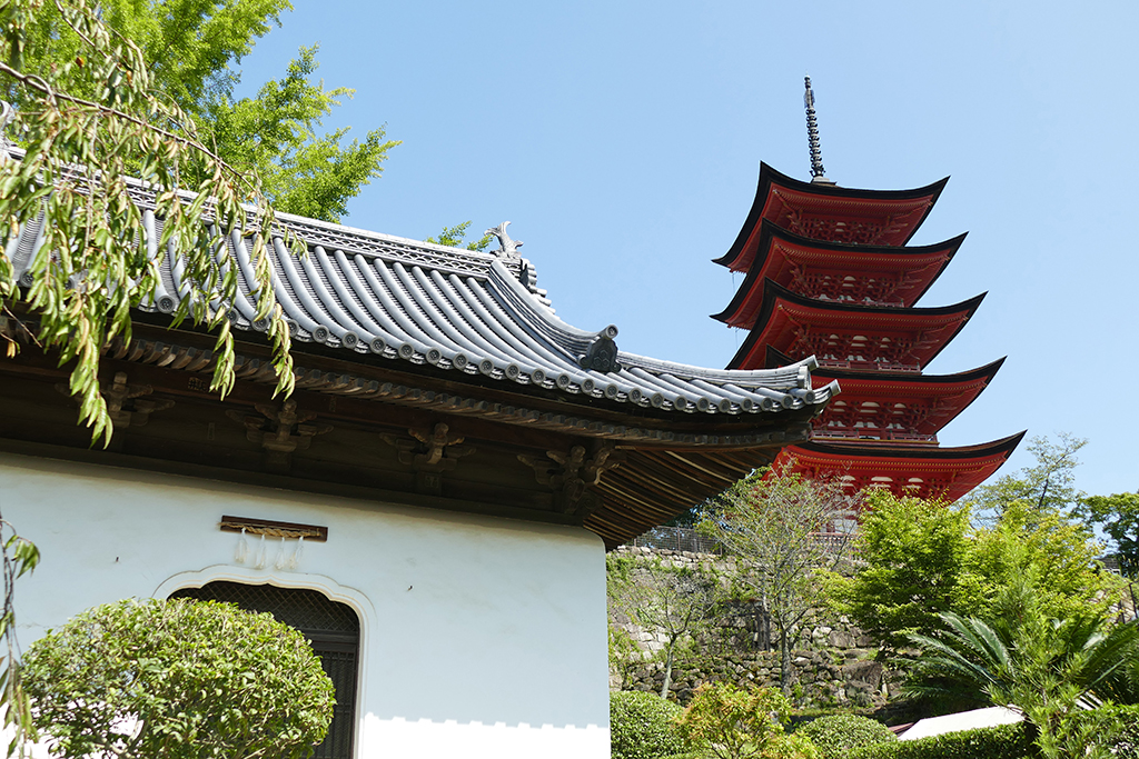 The Five Storey Pagoda of Miyajima seen behind the Sutra Registration Office.