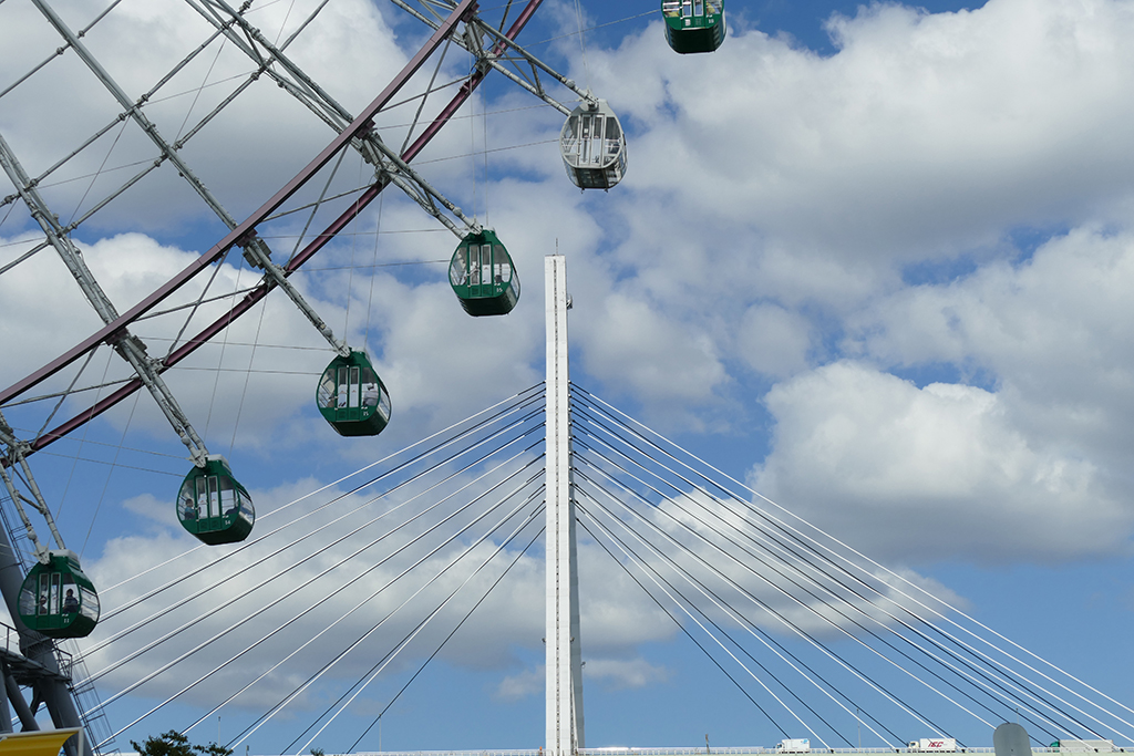 A Ferris wheel and Legoland in Osaka.