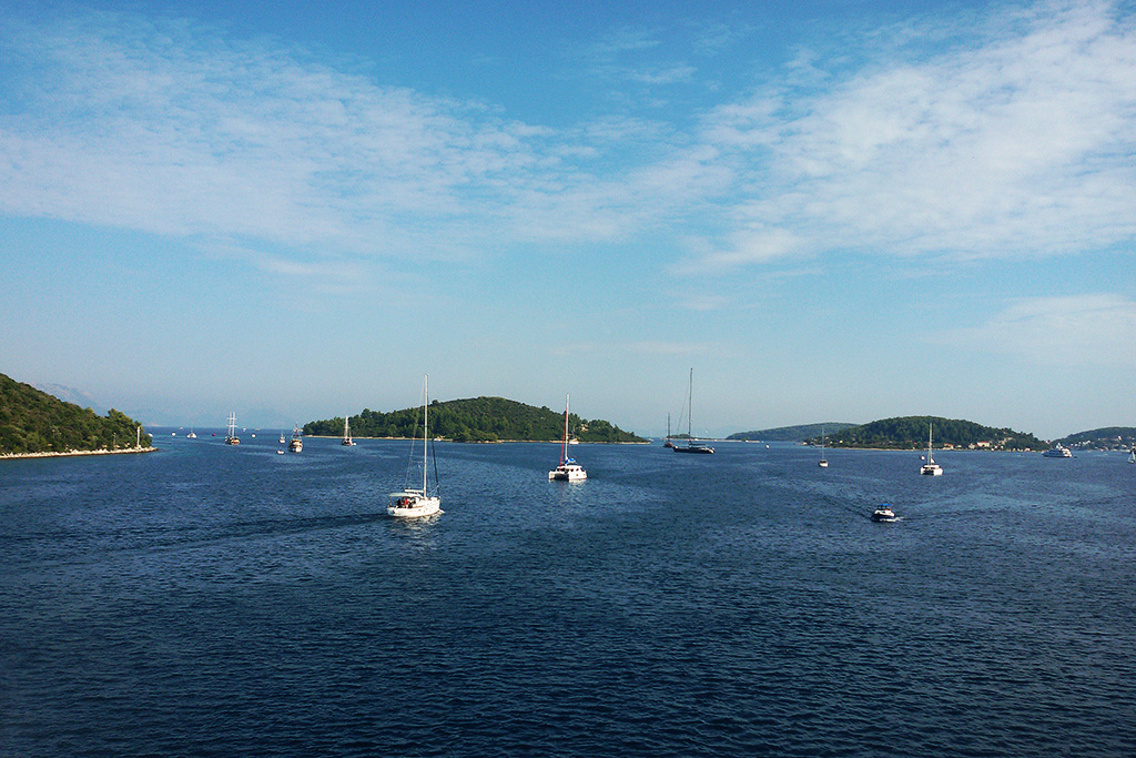 Boats on the water off Korcula