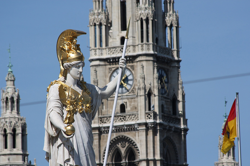 Pallas Athena, the Goddess of Cities, in front of Vienna's Parliament.