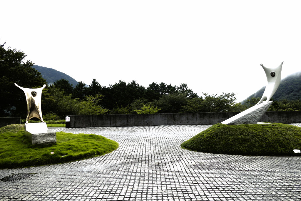 Two sculptures by Japanese artist Takao Tsuchida at the Open Air Museum of Hakone