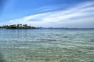 Cristal clear waters at the beach of Alcúdia.