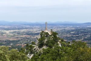 View of the cross of Sant Salvador close to Felanitx on Mallorca