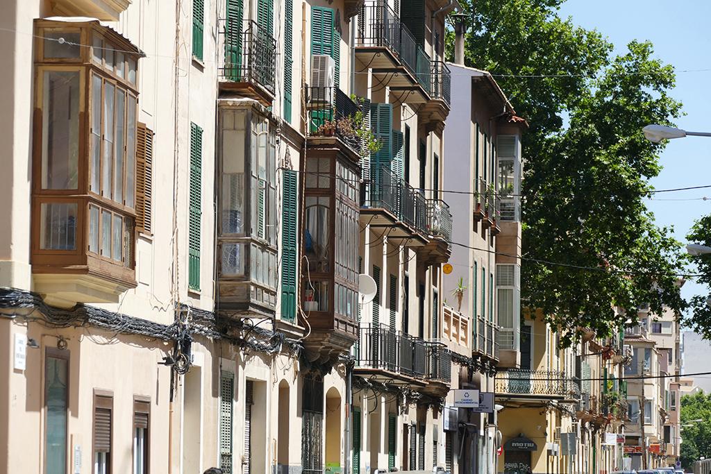 Facade with windows in Palma de Mallorca