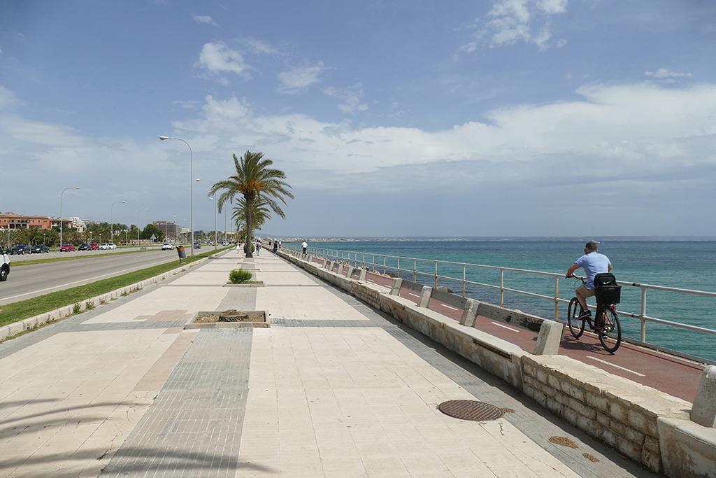Man cycling on the promenade of Palma