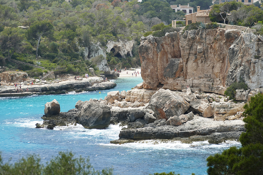 View from the beach of Cala Llombards in Mallorca.