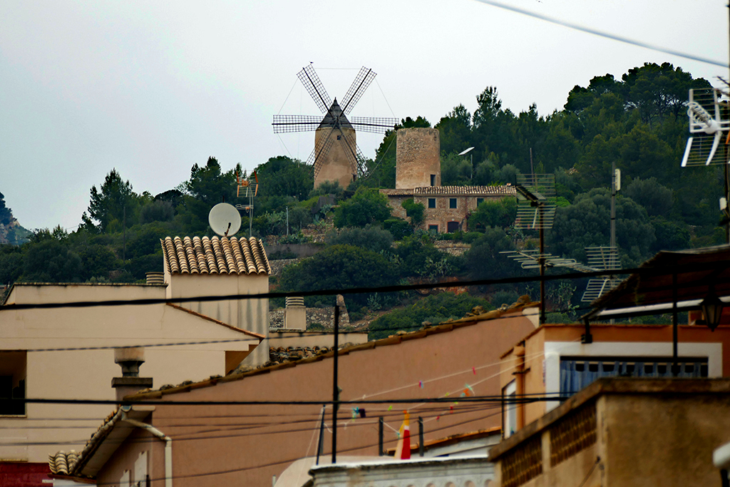 Andratx to Sant Elm Hike starting point downtown Andratx. Windmill above the city of Andratx.