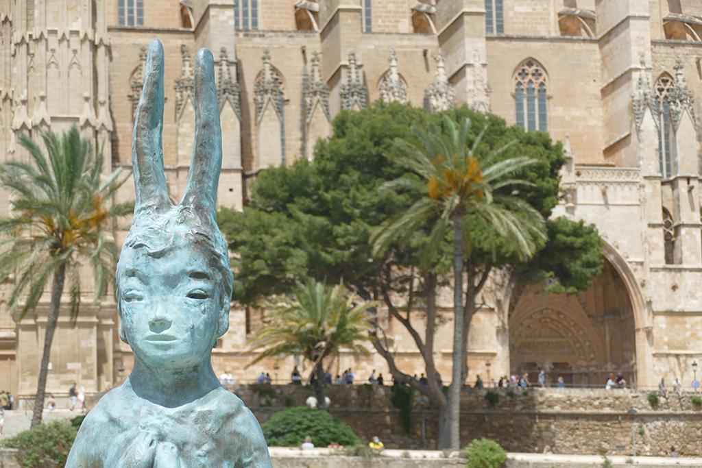 Bronze sculpture Usagi Kannon by Swiss-Japanese artist Leiko Ikemura at the Parc de la Mar in Palma de Mallorca