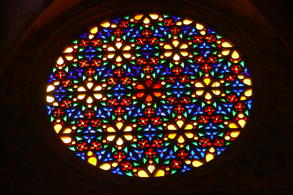 The Gothic rose window of the  Basílica de Santa María en Palma