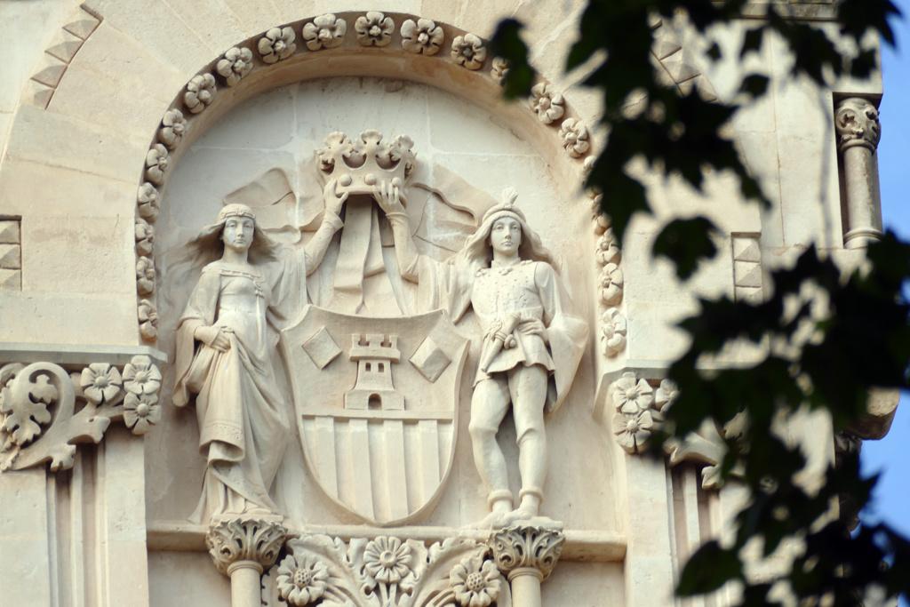 Detail on the facade of the Gran Hotel in Palma de Mallorca