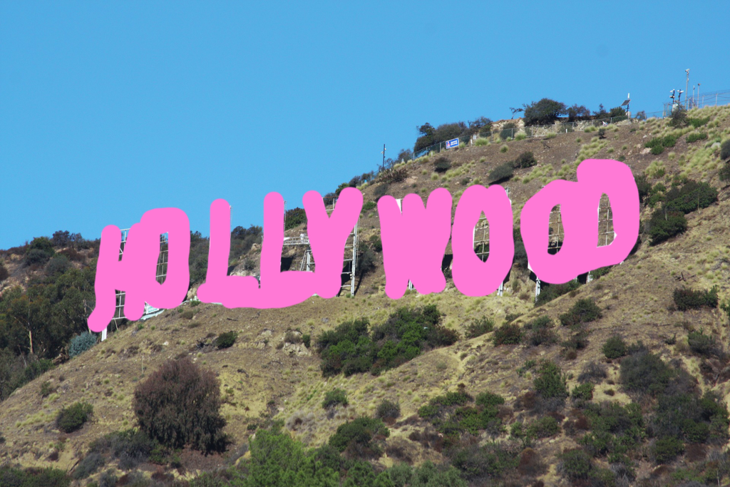 erased hollywood sign in los angeles to avoid copyright infringement