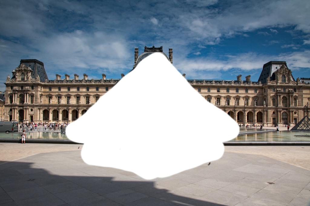 erased louvre pyramid in paris to avoid copyright infringement