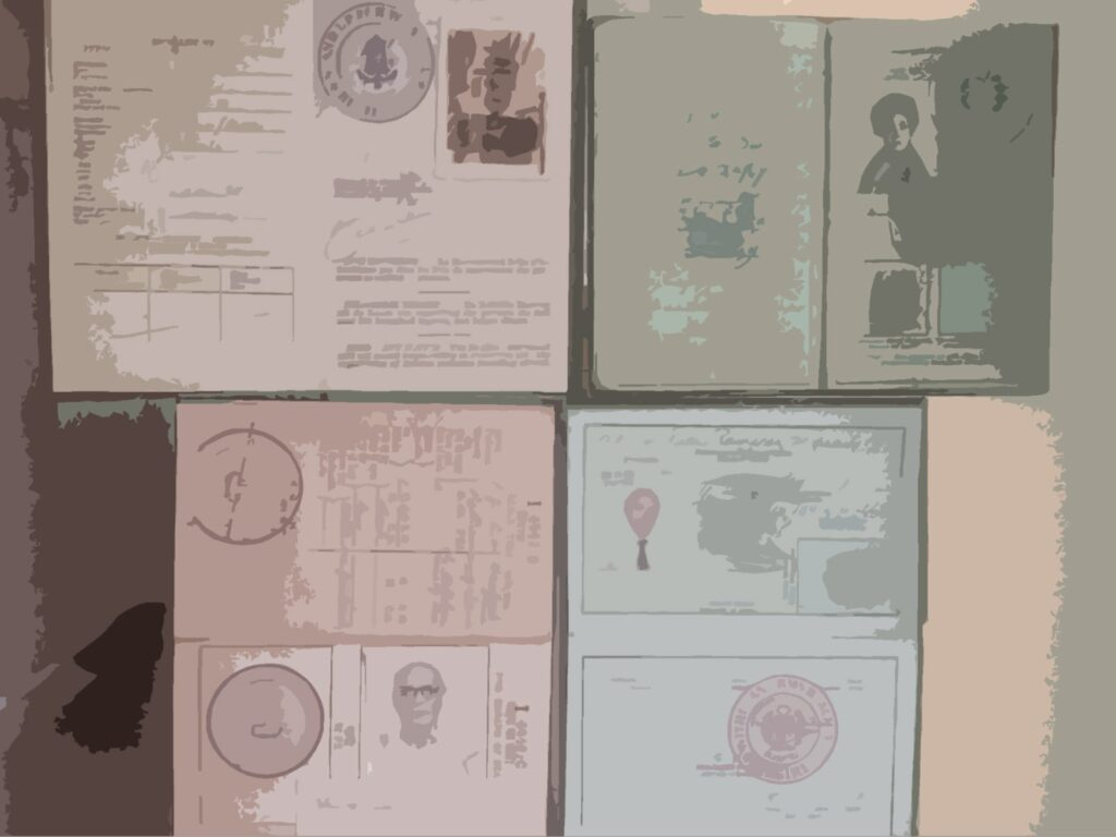 Different open passports illustrating WORLD'S MOST COMPLETE TRAVEL INFORMATION
