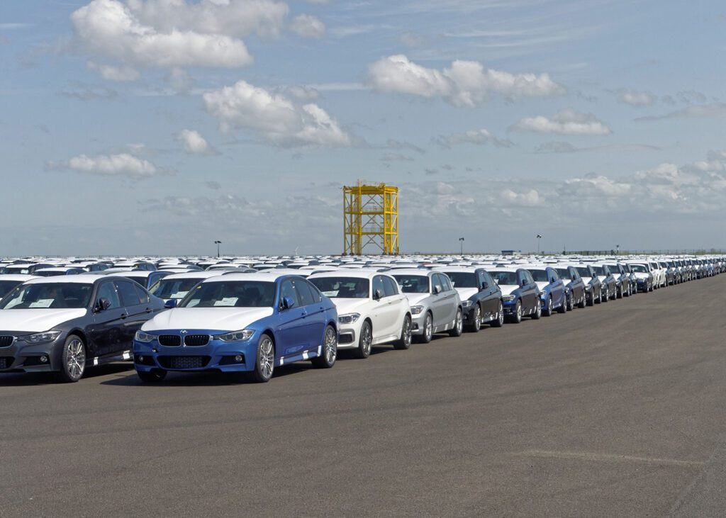 Cars in the harbor of Cuxhaven