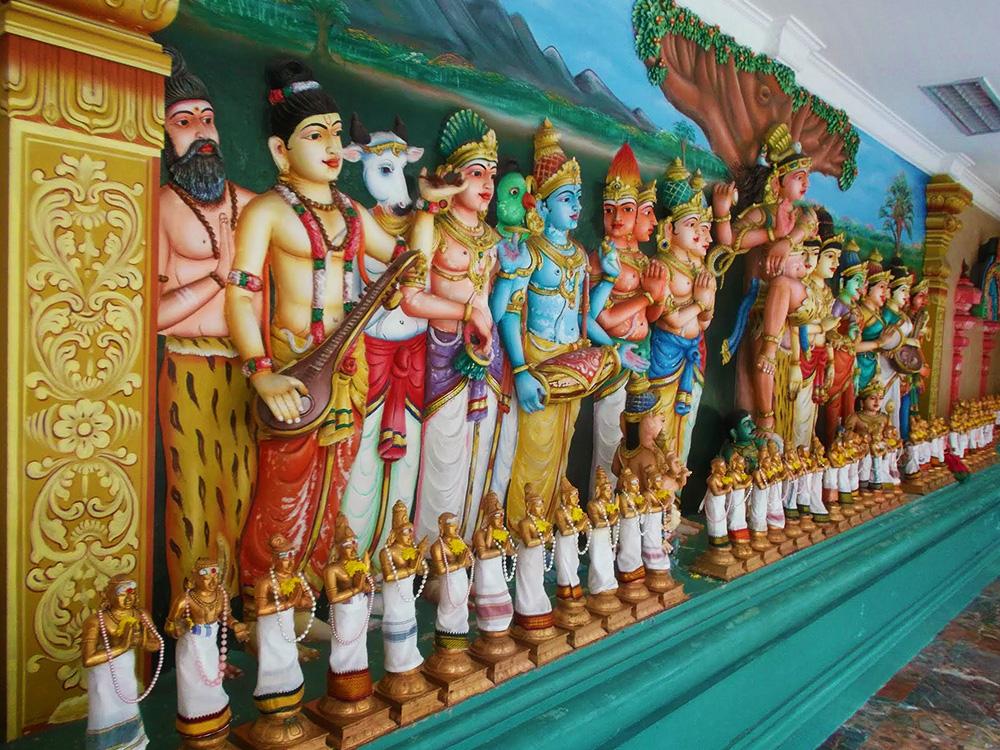 Statues decorating the Sri Mahamariamman Temple of Kuala Lumpur.