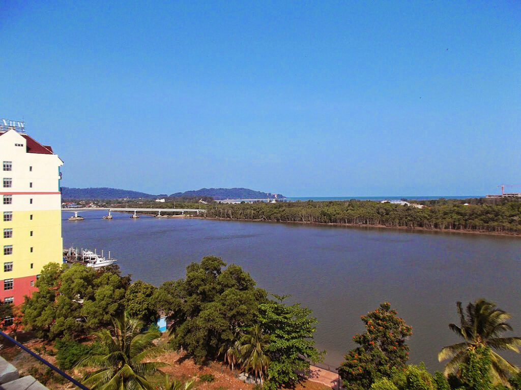 The mighty Kuantan River - seen from the hotel's rooftop terrace.