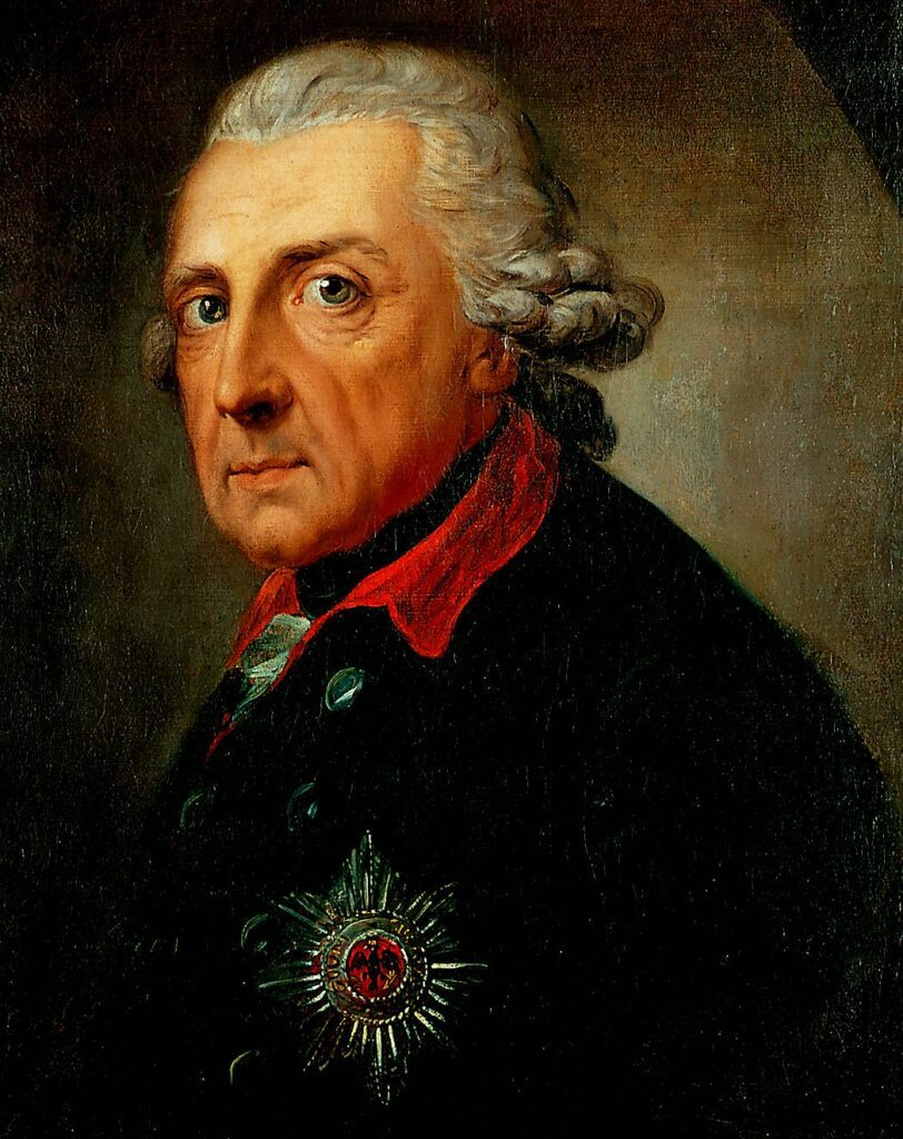 Frederick II at the age of 68 painted by Anton Graff. One of the Frederick's that made in Potsdam a small town great - introduced in this guide.