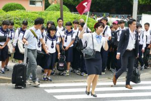 School Class crossing street