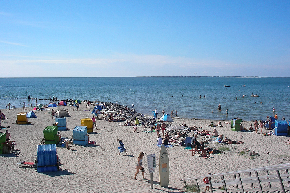 Cherishing the joys of summer. All the way in the back, you can spot the island of Amrum on the horizon. (Photo: Pincerno at German Wikipedia, Pincerno - Utersum 1, cropped to 2:3, straightened, CC BY-SA 3.0 DE)