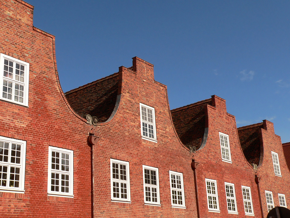 Typical Dutch brick gables at the Holländisches Viertel, the Dutch quarter of Potsdam, the great small town, introduced in this guide. planned by Frederick William I, accomplished by Frederick II